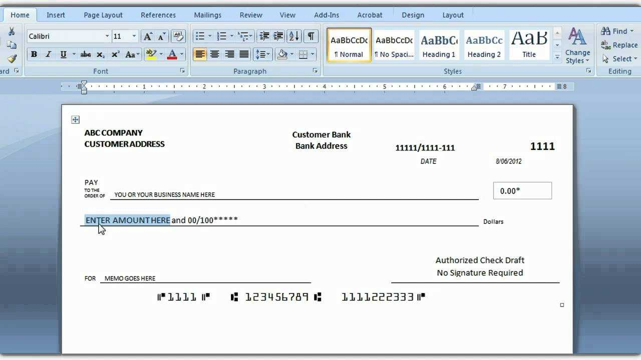 Check Template For Word - Dalep.midnightpig.co In Blank Check Templates For Microsoft Word