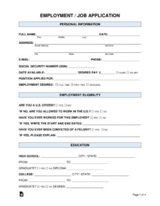 Free Job Application Form - Standard Template - Word   Pdf intended for Job Application Template Word